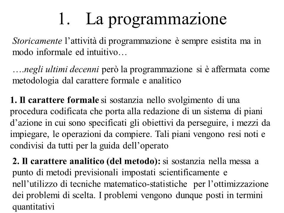 1.La programmazione Storicamente lattività di programmazione è sempre esistita ma in modo informale ed intuitivo… ….negli ultimi decenni però la progr