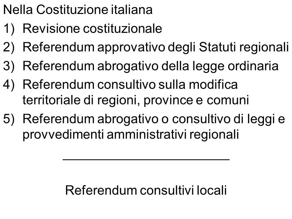 Nella Costituzione italiana 1)Revisione costituzionale 2)Referendum approvativo degli Statuti regionali 3)Referendum abrogativo della legge ordinaria