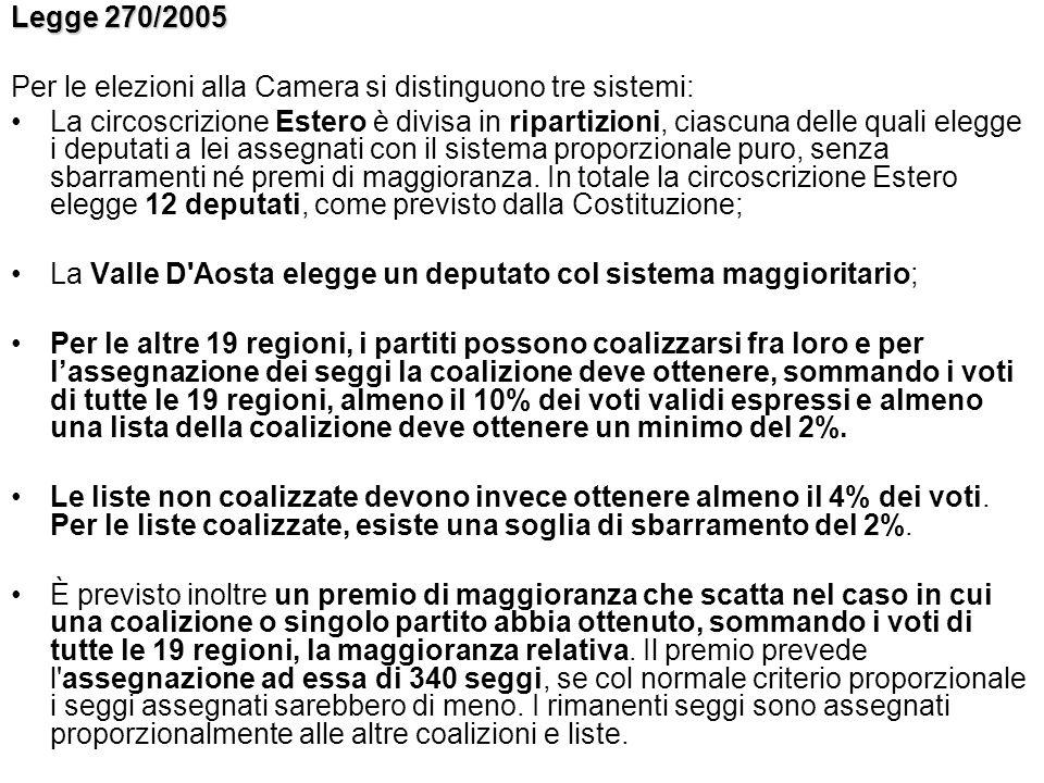 Legge 270/2005 Per le elezioni alla Camera si distinguono tre sistemi: La circoscrizione Estero è divisa in ripartizioni, ciascuna delle quali elegge
