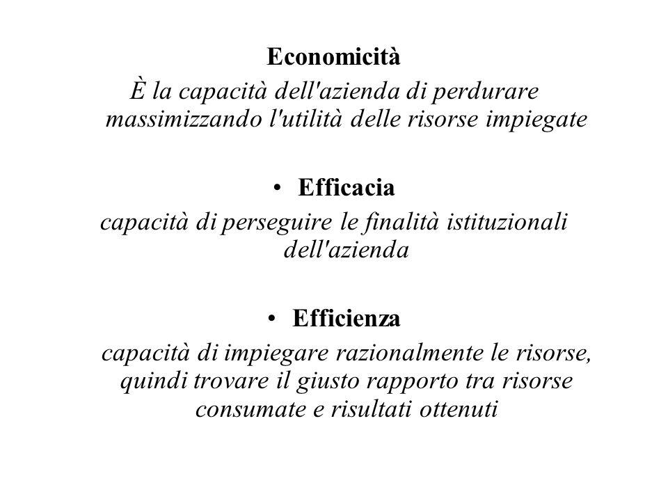 Economicità È la capacità dell azienda di perdurare massimizzando l utilità delle risorse impiegate Efficacia capacità di perseguire le finalità istituzionali dell azienda Efficienza capacità di impiegare razionalmente le risorse, quindi trovare il giusto rapporto tra risorse consumate e risultati ottenuti