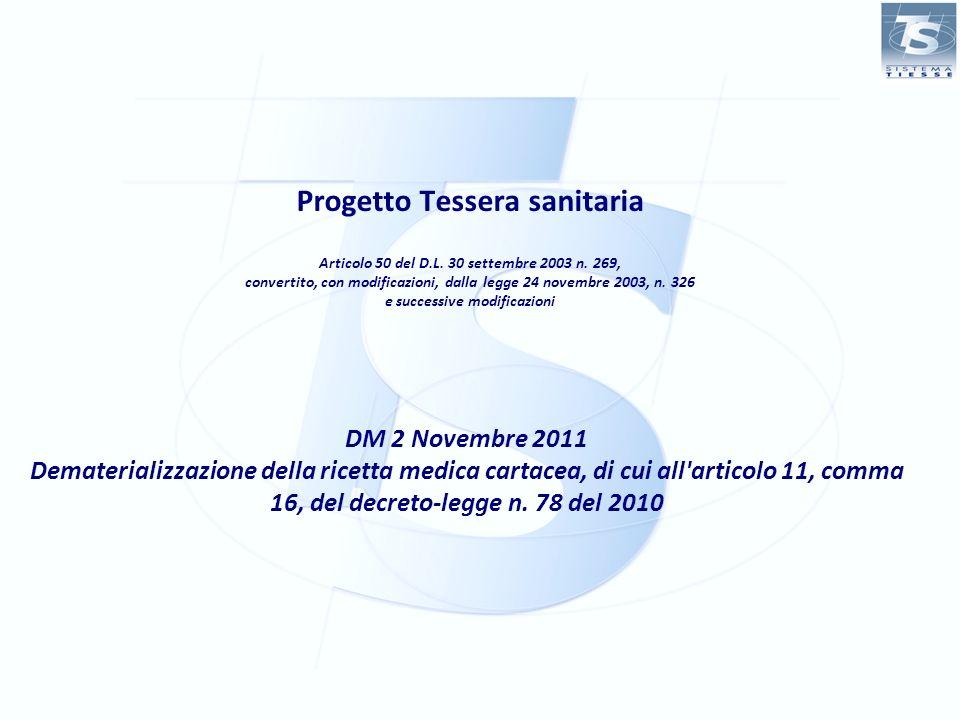 Progetto Tessera Sanitaria DM 2 novembre 2011 – De-materializzazione delle ricetta cartacea Il Progetto Tessera Sanitaria Articolo 50 Normativa di riferimento DPCM 26 marzo 2008 Decreto-Legge 31 maggio 2010, n.