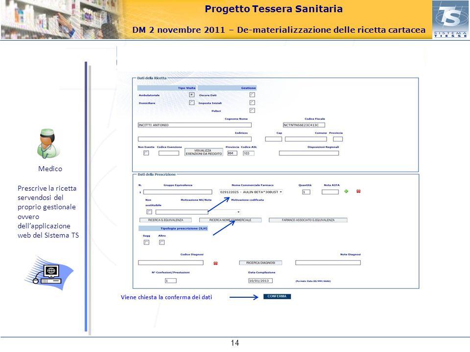 Progetto Tessera Sanitaria DM 2 novembre 2011 – De-materializzazione delle ricetta cartacea 14 Viene chiesta la conferma dei dati Medico Prescrive la
