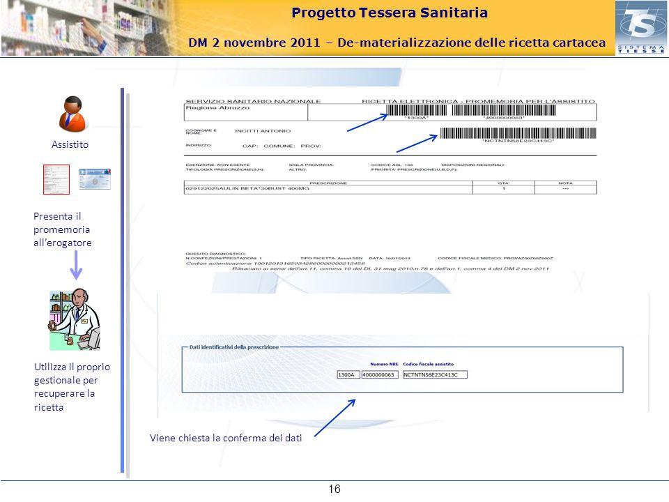 Progetto Tessera Sanitaria DM 2 novembre 2011 – De-materializzazione delle ricetta cartacea 16 Assistito Presenta il promemoria allerogatore Utilizza