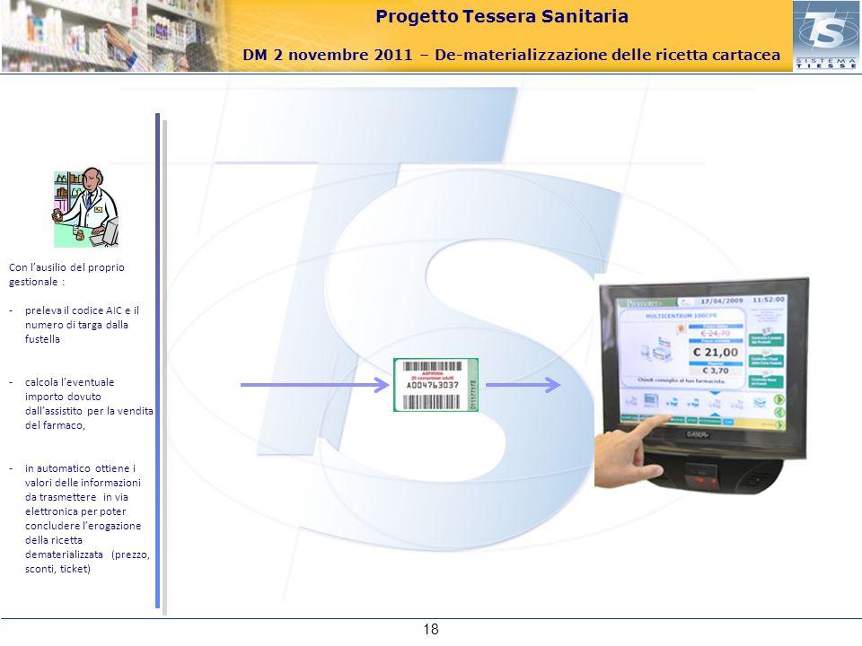 Progetto Tessera Sanitaria DM 2 novembre 2011 – De-materializzazione delle ricetta cartacea 18 Con lausilio del proprio gestionale : -preleva il codic