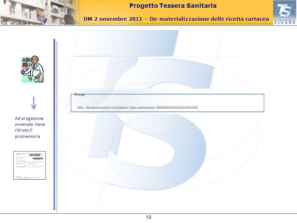 Progetto Tessera Sanitaria DM 2 novembre 2011 – De-materializzazione delle ricetta cartacea 19 Ad erogazione avvenuta viene ritirato il promemoria