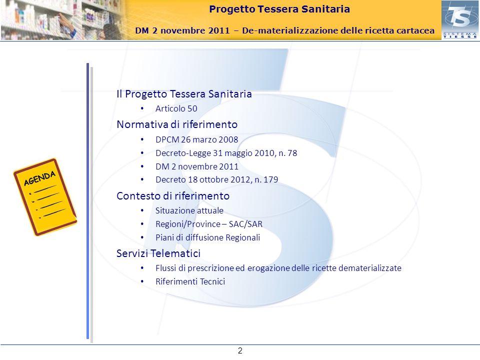 Progetto Tessera Sanitaria DM 2 novembre 2011 – De-materializzazione delle ricetta cartacea Il Progetto Tessera Sanitaria Articolo 50 Normativa di rif