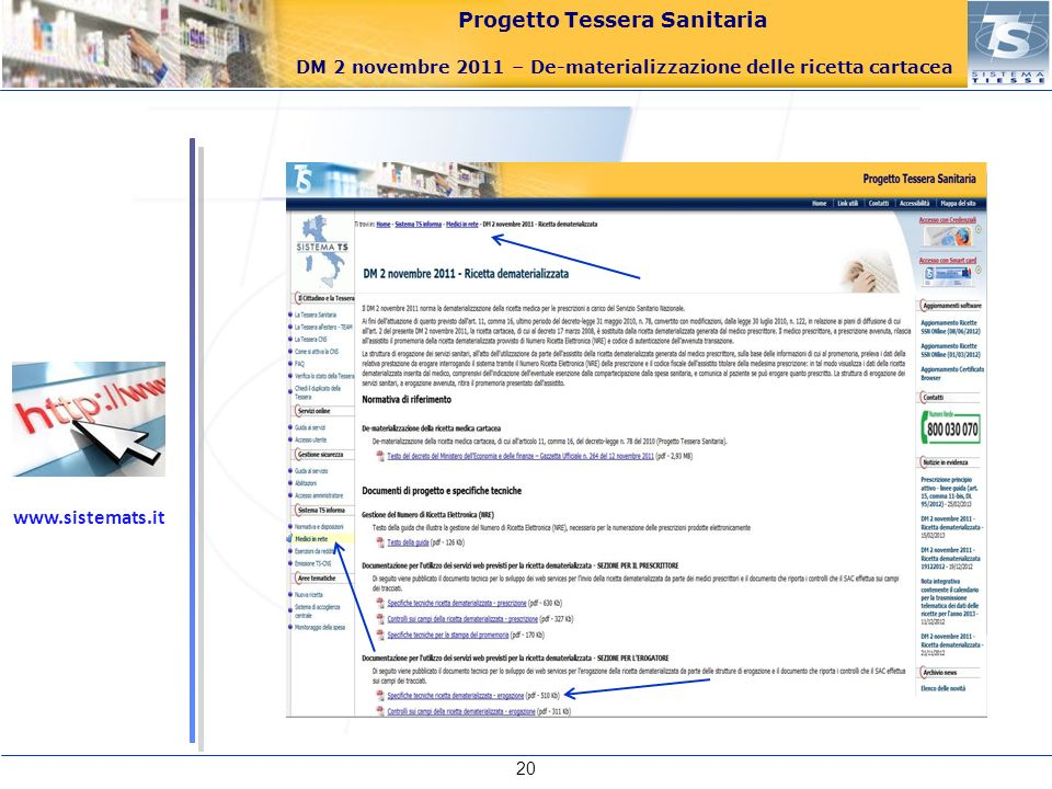 Progetto Tessera Sanitaria DM 2 novembre 2011 – De-materializzazione delle ricetta cartacea 20 www.sistemats.it