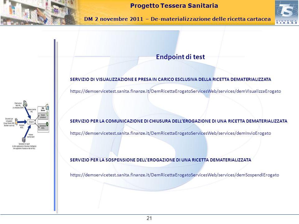 Progetto Tessera Sanitaria DM 2 novembre 2011 – De-materializzazione delle ricetta cartacea 21 Endpoint di test SERVIZIO DI VISUALIZZAZIONE E PRESA IN