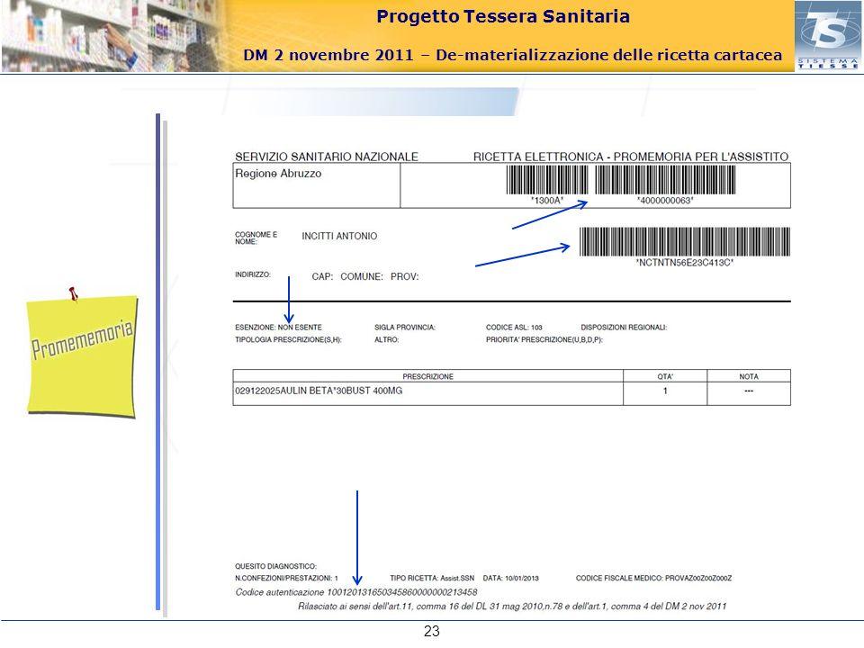 Progetto Tessera Sanitaria DM 2 novembre 2011 – De-materializzazione delle ricetta cartacea 23