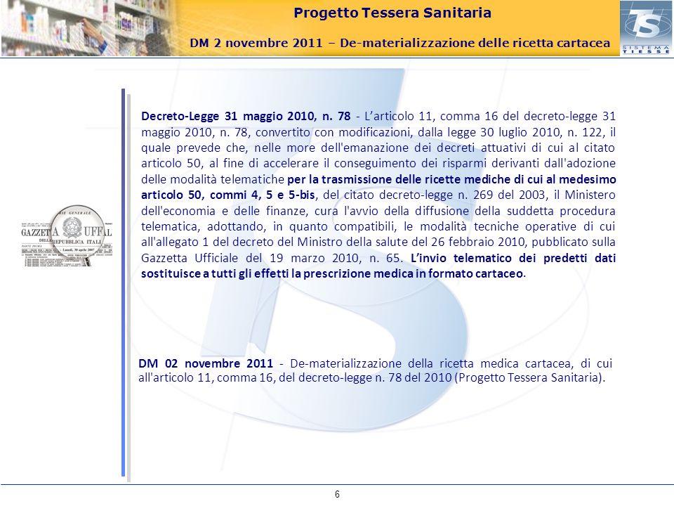 Progetto Tessera Sanitaria DM 2 novembre 2011 – De-materializzazione delle ricetta cartacea DM 02 novembre 2011 - De-materializzazione della ricetta m