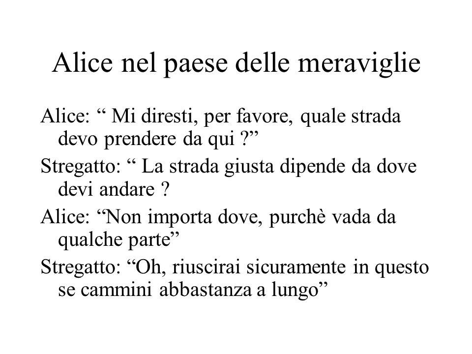 Alice nel paese delle meraviglie Alice: Mi diresti, per favore, quale strada devo prendere da qui ? Stregatto: La strada giusta dipende da dove devi a
