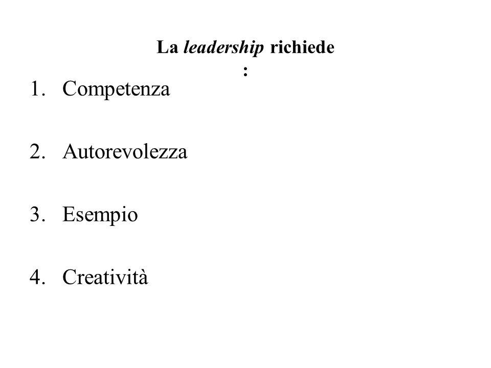 La leadership richiede : 1.Competenza 2.Autorevolezza 3.Esempio 4.Creatività