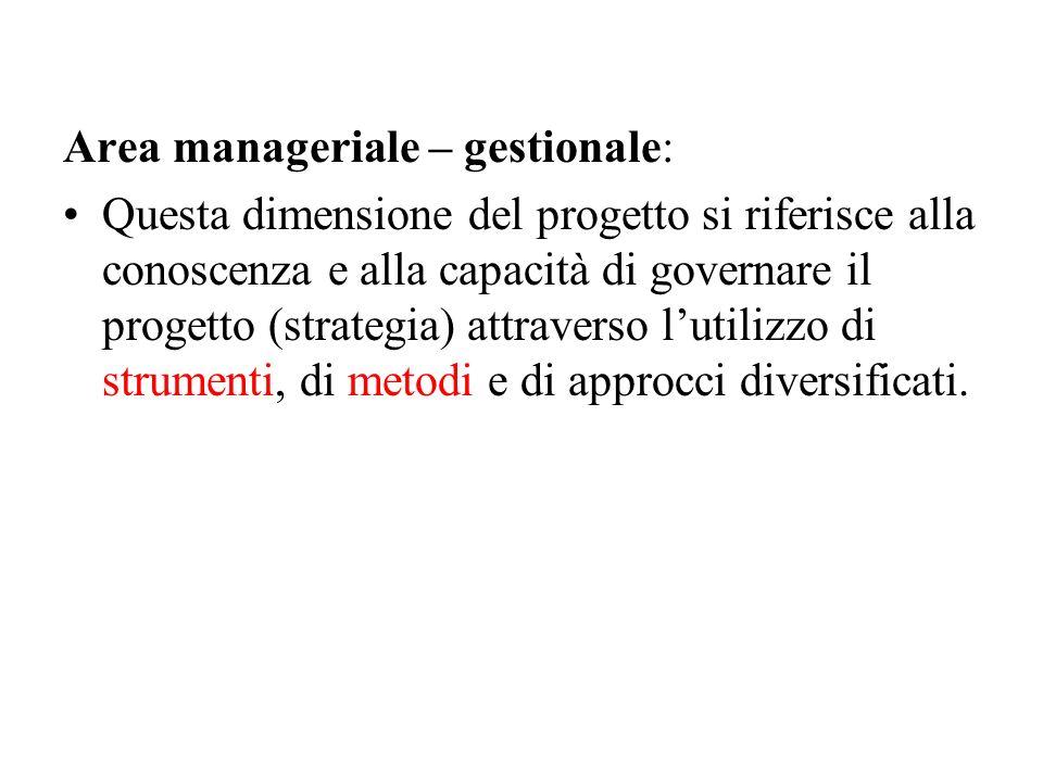Area manageriale – gestionale: Questa dimensione del progetto si riferisce alla conoscenza e alla capacità di governare il progetto (strategia) attrav