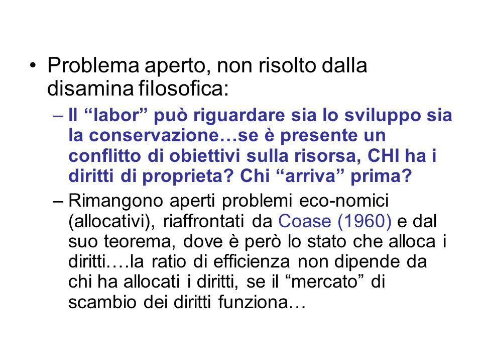 Problema aperto, non risolto dalla disamina filosofica: –Il labor può riguardare sia lo sviluppo sia la conservazione…se è presente un conflitto di obiettivi sulla risorsa, CHI ha i diritti di proprieta.