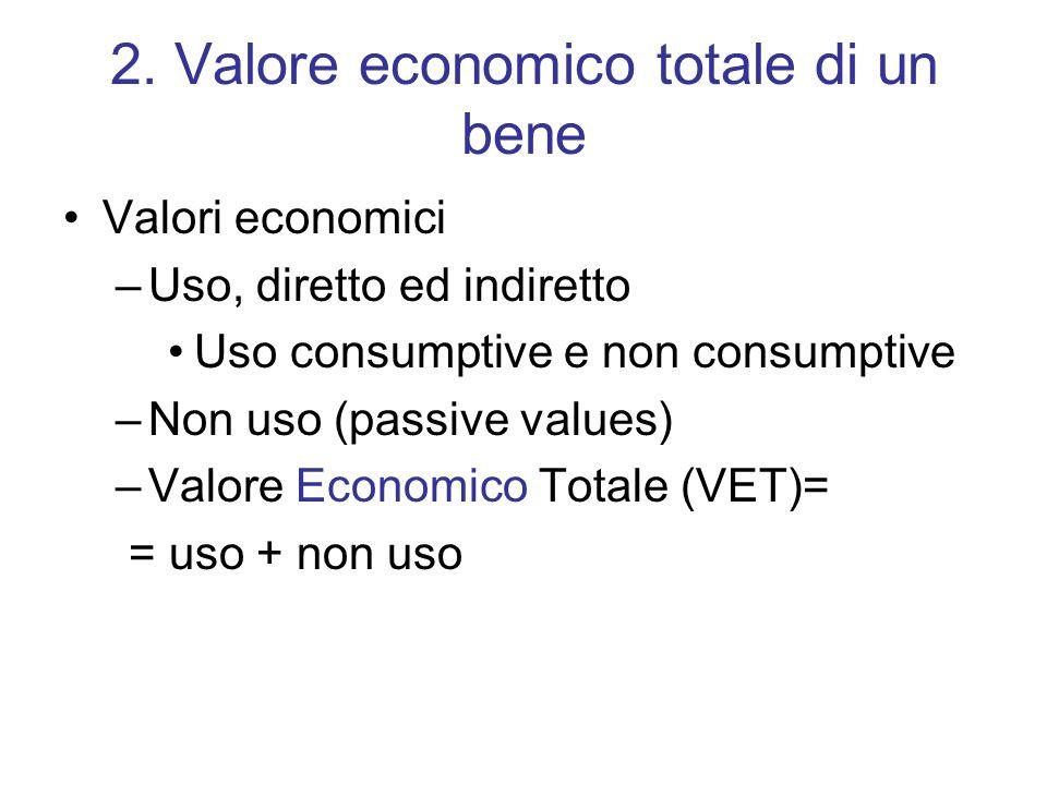 2. Valore economico totale di un bene Valori economici –Uso, diretto ed indiretto Uso consumptive e non consumptive –Non uso (passive values) –Valore