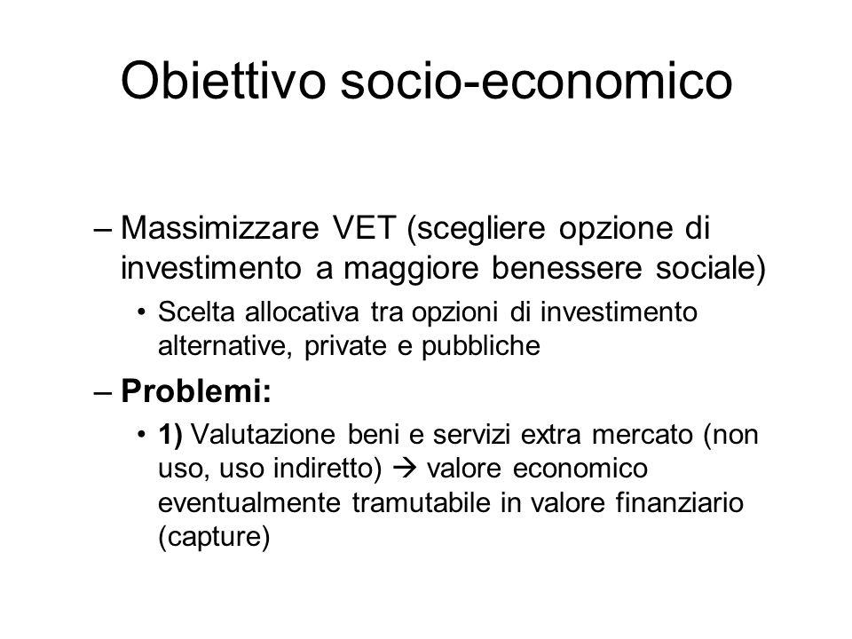 Obiettivo socio-economico –Massimizzare VET (scegliere opzione di investimento a maggiore benessere sociale) Scelta allocativa tra opzioni di investim