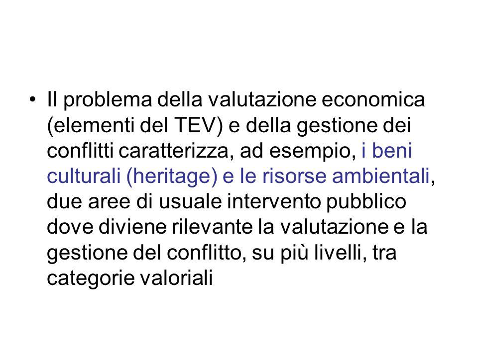 Il problema della valutazione economica (elementi del TEV) e della gestione dei conflitti caratterizza, ad esempio, i beni culturali (heritage) e le risorse ambientali, due aree di usuale intervento pubblico dove diviene rilevante la valutazione e la gestione del conflitto, su più livelli, tra categorie valoriali