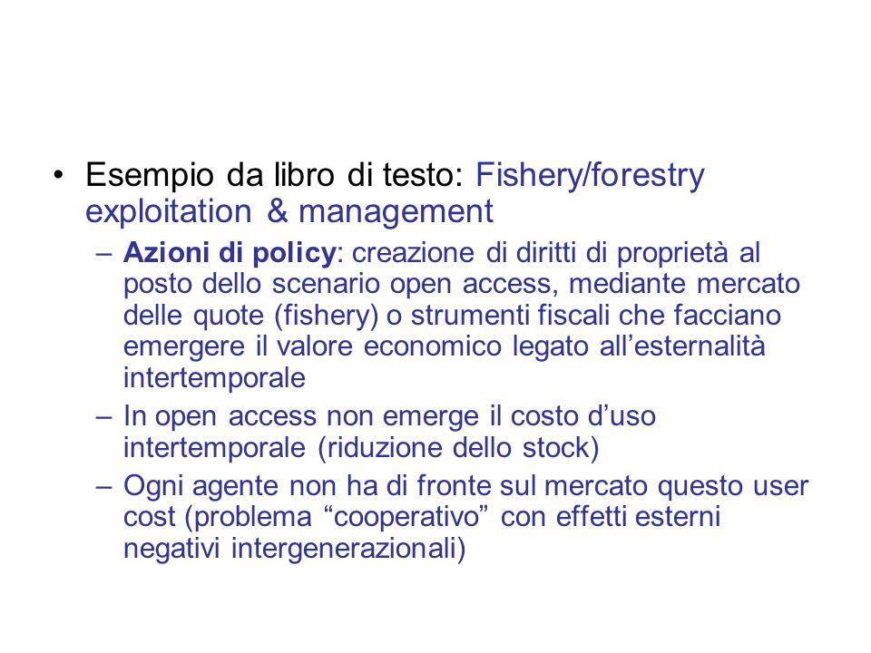 Esempio da libro di testo: Fishery/forestry exploitation & management –Azioni di policy: creazione di diritti di proprietà al posto dello scenario ope