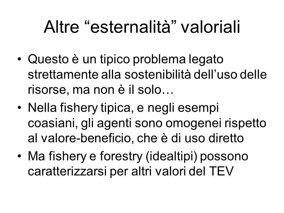 Altre esternalità valoriali Questo è un tipico problema legato strettamente alla sostenibilità delluso delle risorse, ma non è il solo… Nella fishery