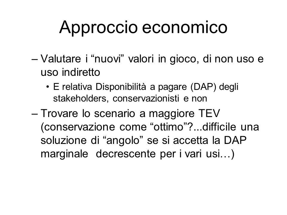 Approccio economico –Valutare i nuovi valori in gioco, di non uso e uso indiretto E relativa Disponibilità a pagare (DAP) degli stakeholders, conserva