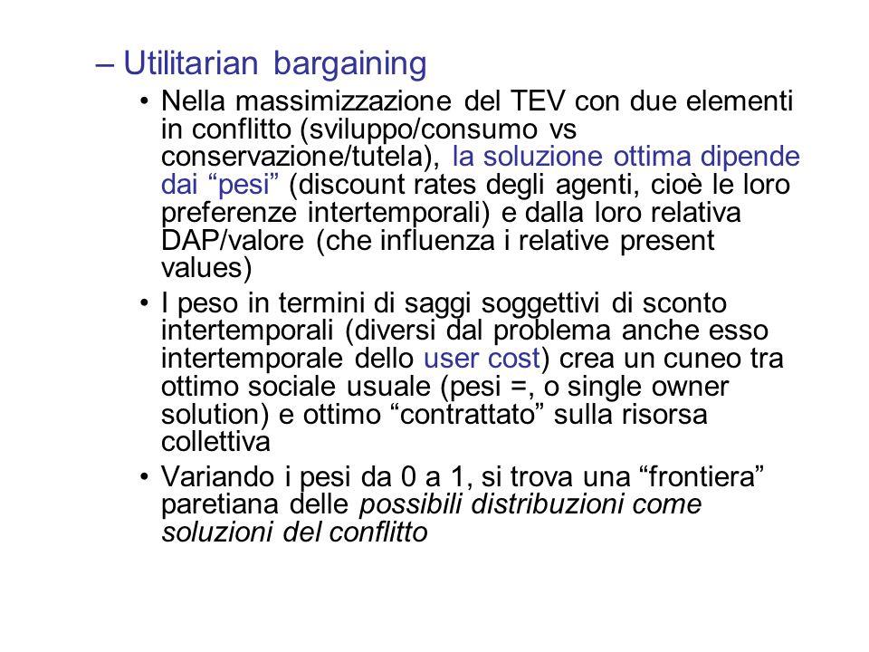 –Utilitarian bargaining Nella massimizzazione del TEV con due elementi in conflitto (sviluppo/consumo vs conservazione/tutela), la soluzione ottima di