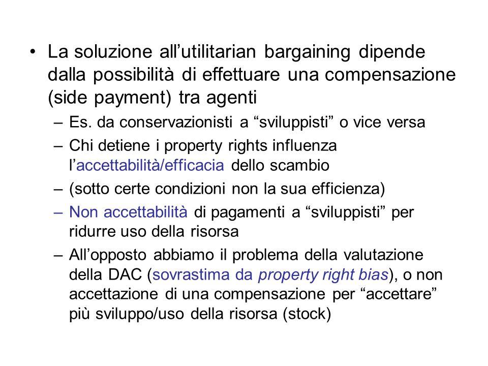 La soluzione allutilitarian bargaining dipende dalla possibilità di effettuare una compensazione (side payment) tra agenti –Es. da conservazionisti a