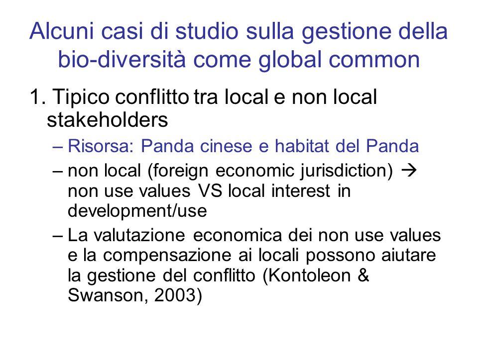 Alcuni casi di studio sulla gestione della bio-diversità come global common 1. Tipico conflitto tra local e non local stakeholders –Risorsa: Panda cin