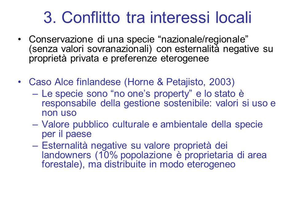 3. Conflitto tra interessi locali Conservazione di una specie nazionale/regionale (senza valori sovranazionali) con esternalità negative su proprietà