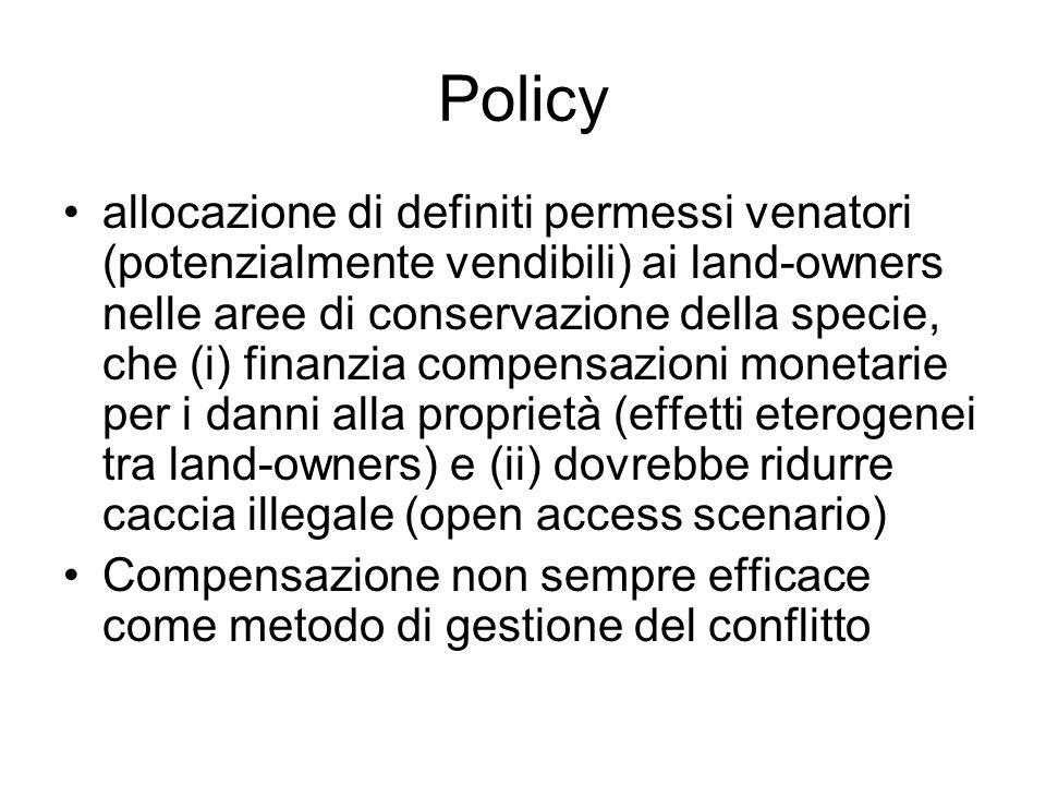 Policy allocazione di definiti permessi venatori (potenzialmente vendibili) ai land-owners nelle aree di conservazione della specie, che (i) finanzia compensazioni monetarie per i danni alla proprietà (effetti eterogenei tra land-owners) e (ii) dovrebbe ridurre caccia illegale (open access scenario) Compensazione non sempre efficace come metodo di gestione del conflitto