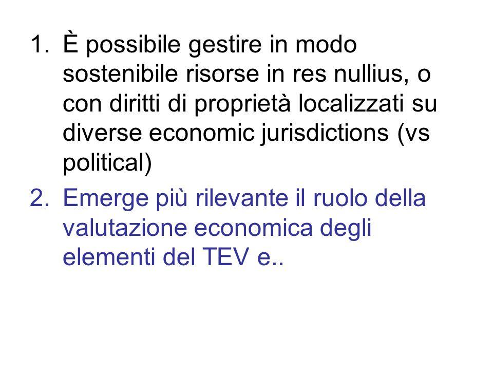 1.È possibile gestire in modo sostenibile risorse in res nullius, o con diritti di proprietà localizzati su diverse economic jurisdictions (vs politic