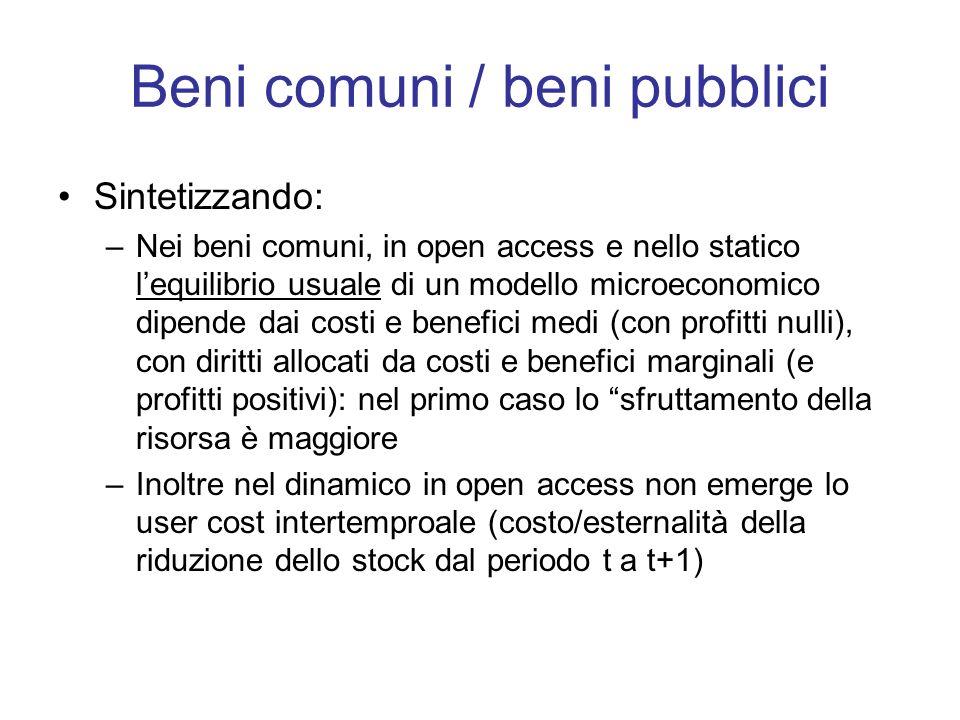 Beni comuni / beni pubblici Sintetizzando: –Nei beni comuni, in open access e nello statico lequilibrio usuale di un modello microeconomico dipende da
