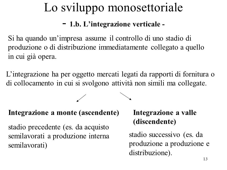 14 Lo sviluppo monosettoriale - 1.b.