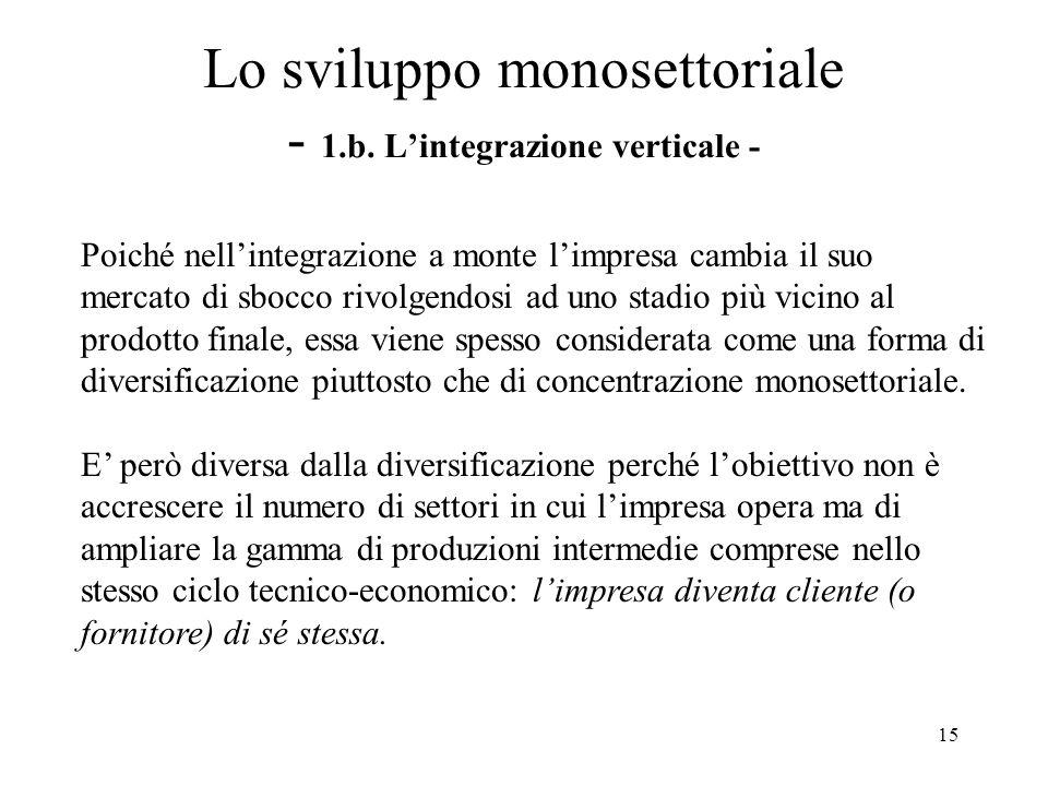 16 Lo sviluppo monosettoriale - 1.b.