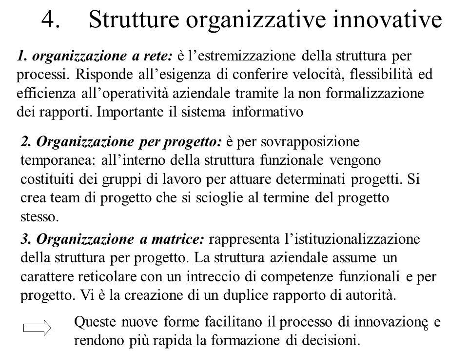 7 Modello di struttura a matrice Direzione generale Direttore produzione Direttore Commerciale Direzeione RU Direttore tecnico Direttore Vendite Responsab.