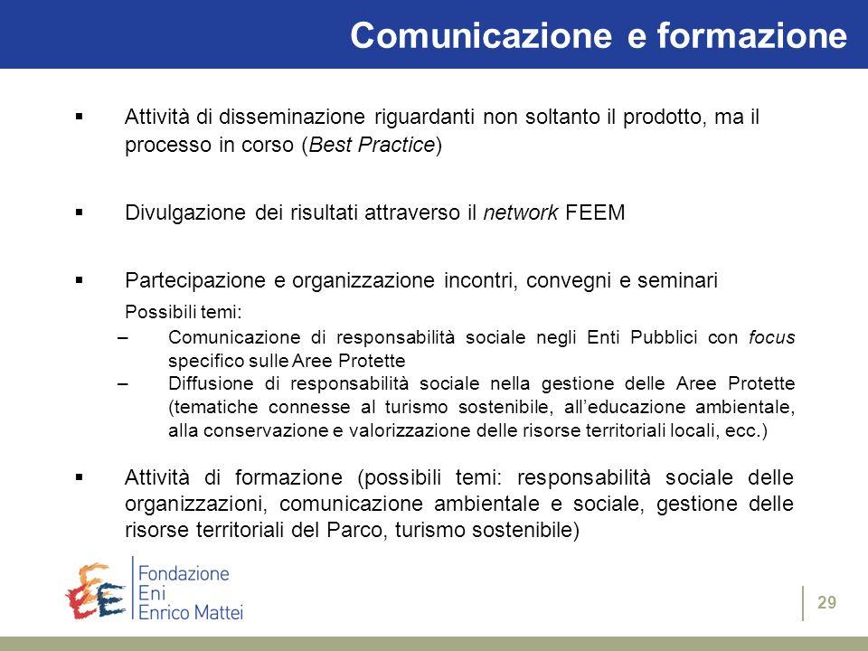 28 Diffusione e processi partecipati Analisi della diffusione e della ricezione del Numero Zero da parte dei fruitori (in termini di efficacia e leggi