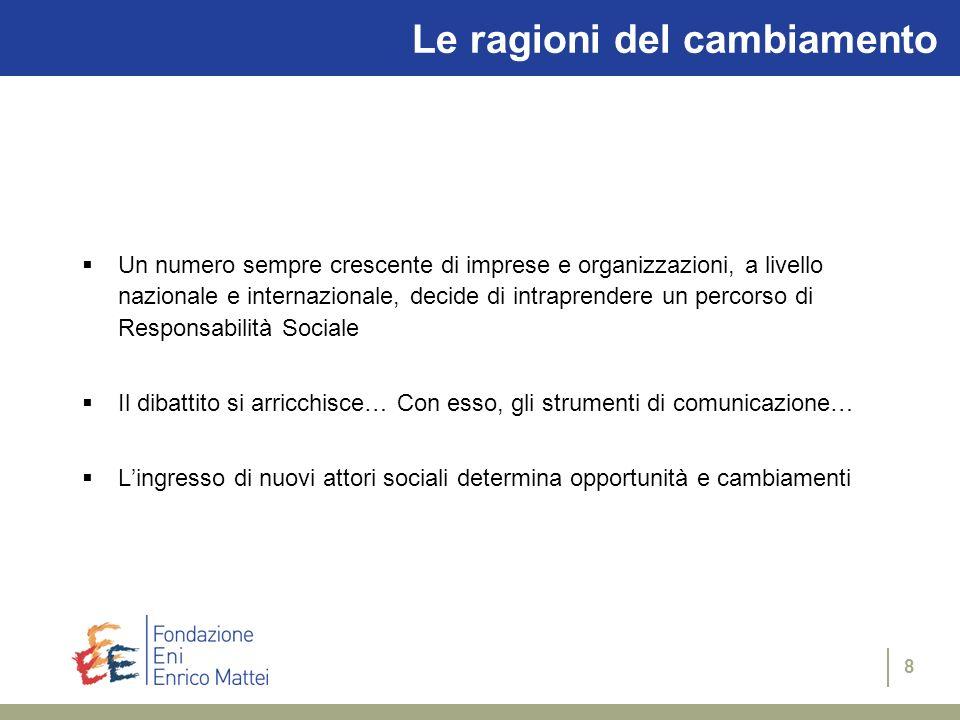 7 Il dibattito Cresce linteresse nei confronti della comunicazione di Responsabilità Sociale: Convegni, seminari, gruppi di lavoro Linee guida a livel