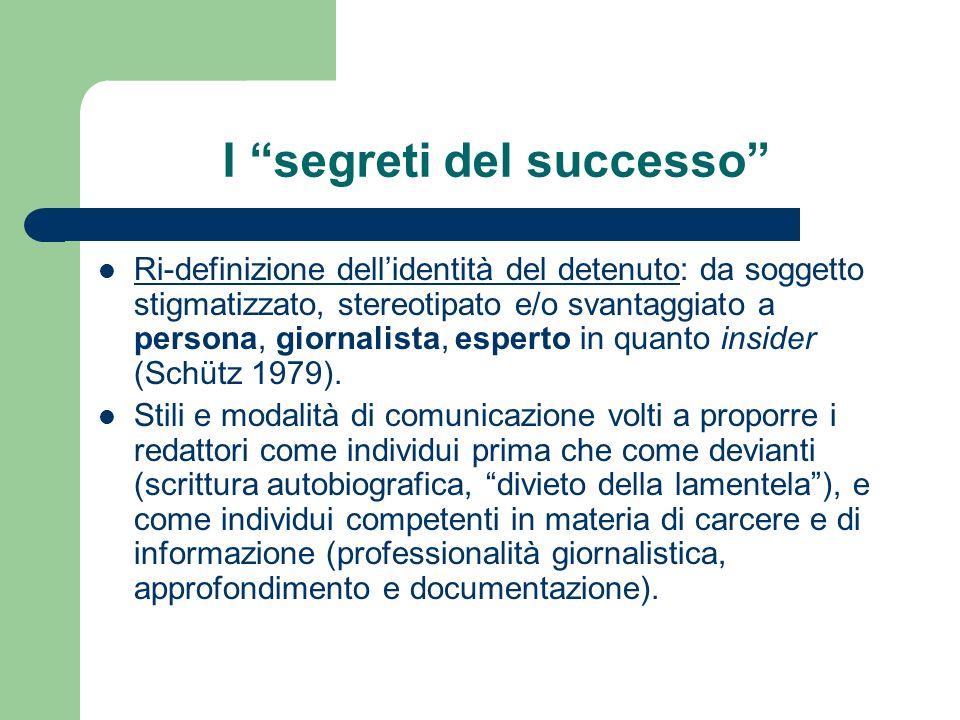 I segreti del successo Ri-definizione dellidentità del detenuto: da soggetto stigmatizzato, stereotipato e/o svantaggiato a persona, giornalista, esperto in quanto insider (Schütz 1979).