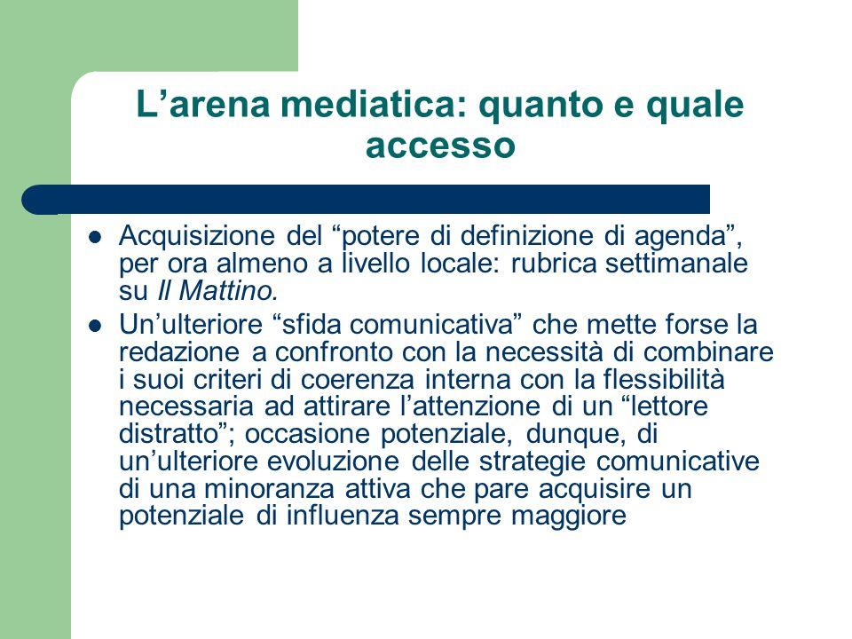 Larena mediatica: quanto e quale accesso Acquisizione del potere di definizione di agenda, per ora almeno a livello locale: rubrica settimanale su Il Mattino.