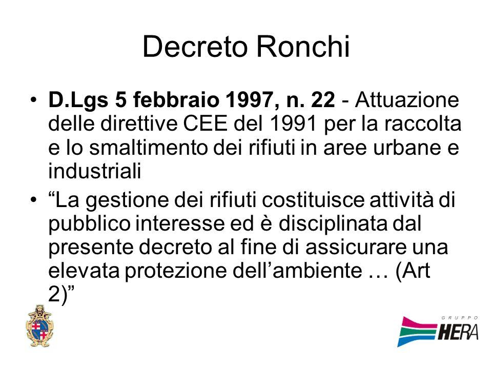 Decreto Ronchi D.Lgs 5 febbraio 1997, n. 22 - Attuazione delle direttive CEE del 1991 per la raccolta e lo smaltimento dei rifiuti in aree urbane e in