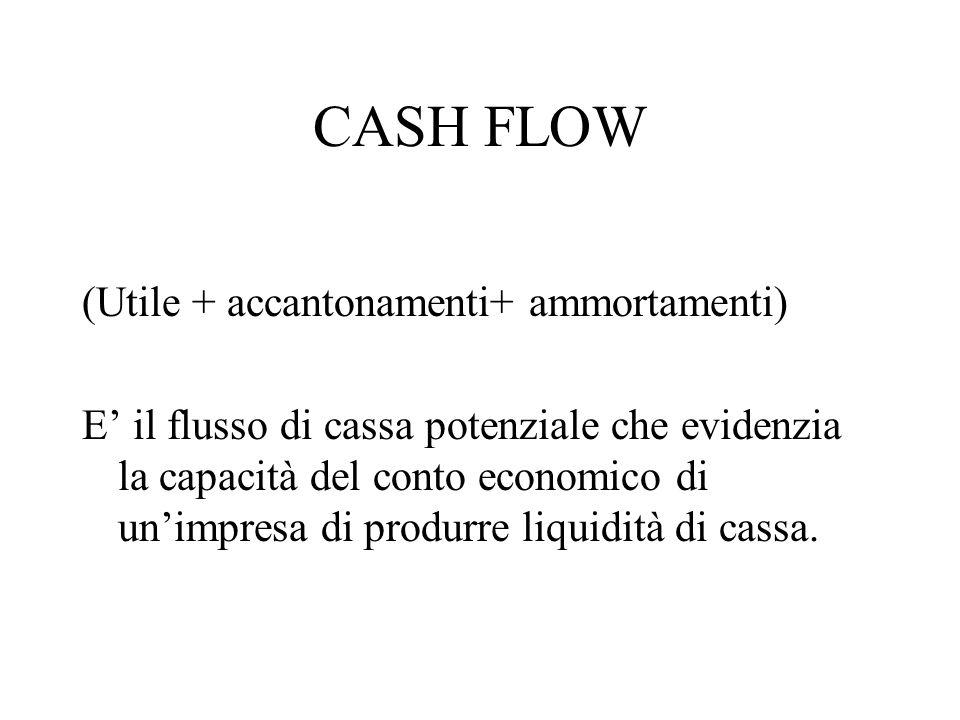 CASH FLOW (Utile + accantonamenti+ ammortamenti) E il flusso di cassa potenziale che evidenzia la capacità del conto economico di unimpresa di produrr