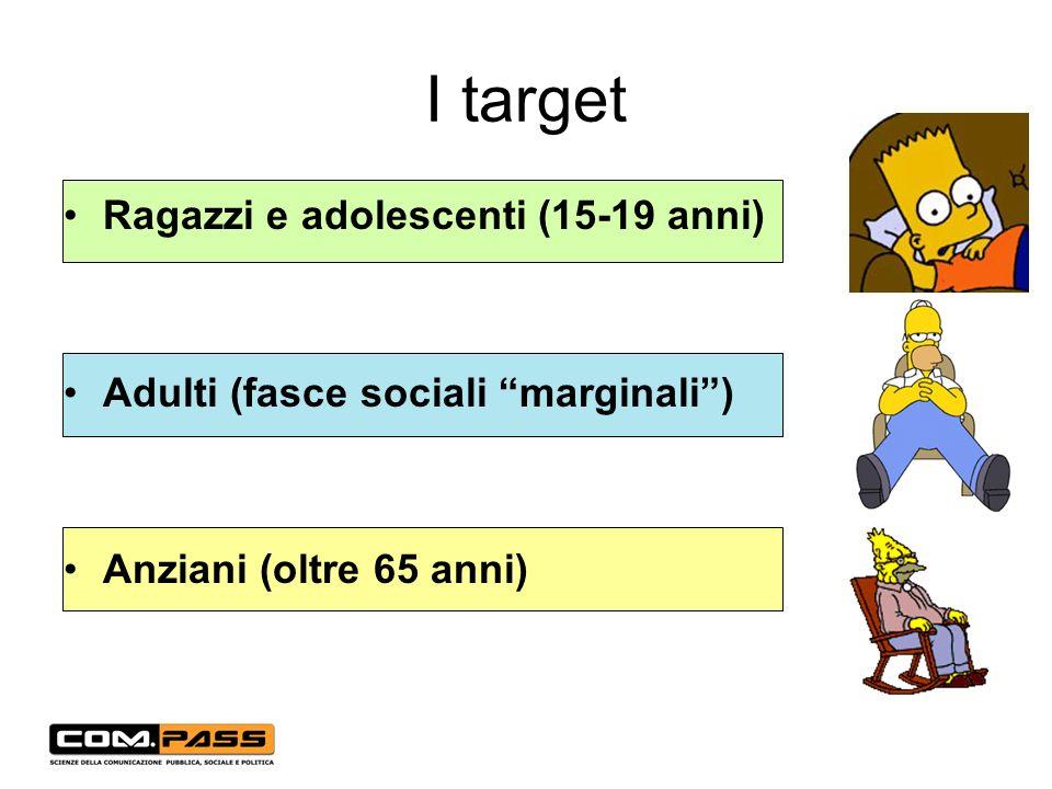 I target Ragazzi e adolescenti (15-19 anni) Adulti (fasce sociali marginali) Anziani (oltre 65 anni)