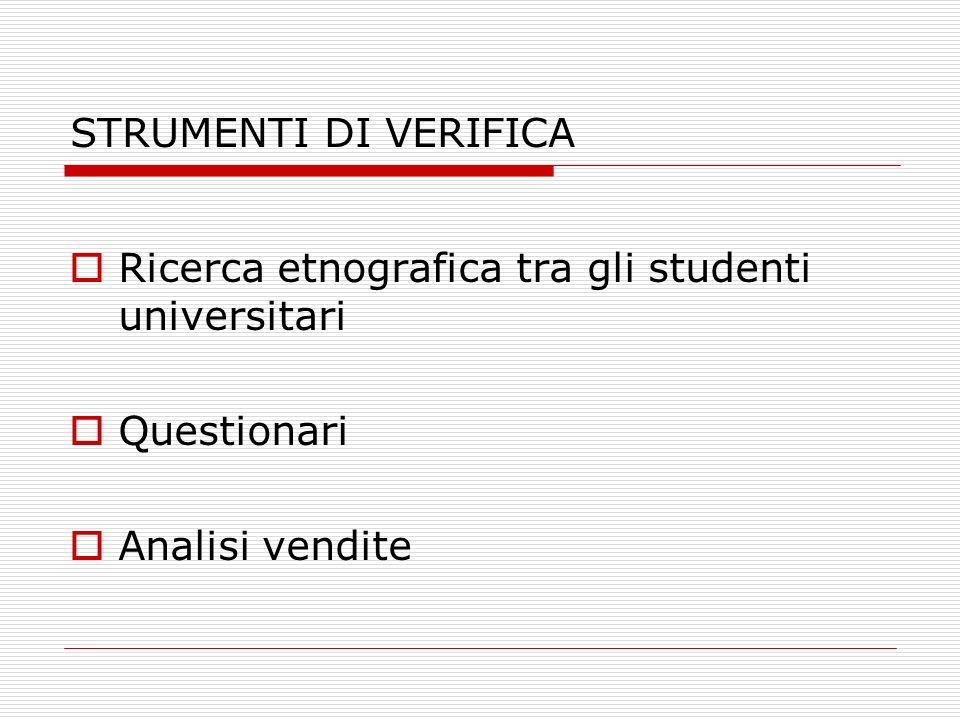 STRUMENTI DI VERIFICA Ricerca etnografica tra gli studenti universitari Questionari Analisi vendite