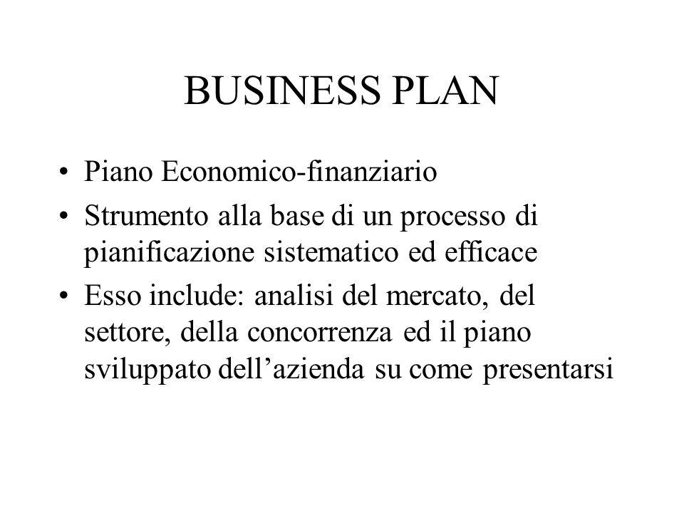 BUSINESS PLAN Piano Economico-finanziario Strumento alla base di un processo di pianificazione sistematico ed efficace Esso include: analisi del merca
