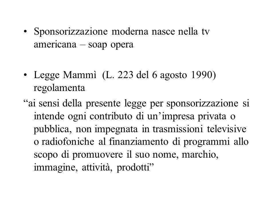 Sponsorizzazione moderna nasce nella tv americana – soap opera Legge Mammì (L.