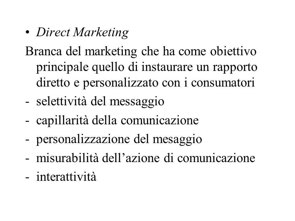 Direct Marketing Branca del marketing che ha come obiettivo principale quello di instaurare un rapporto diretto e personalizzato con i consumatori -selettività del messaggio -capillarità della comunicazione -personalizzazione del mesaggio -misurabilità dellazione di comunicazione -interattività