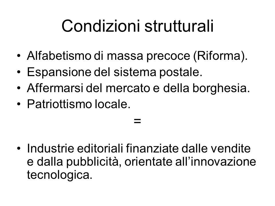 Condizioni strutturali Alfabetismo di massa precoce (Riforma). Espansione del sistema postale. Affermarsi del mercato e della borghesia. Patriottismo