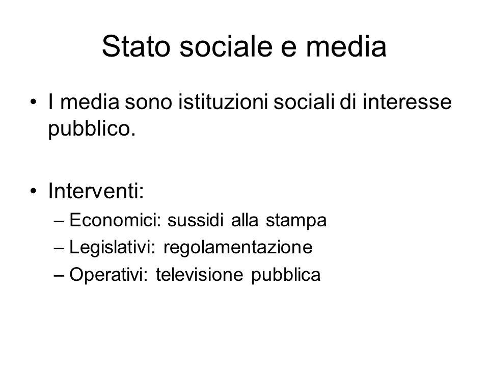 Stato sociale e media I media sono istituzioni sociali di interesse pubblico. Interventi: –Economici: sussidi alla stampa –Legislativi: regolamentazio