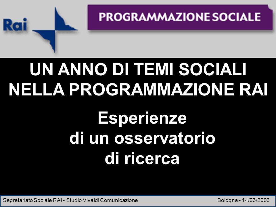 Esperienze di un osservatorio di ricerca Segretariato Sociale RAI - Studio Vivaldi Comunicazione Bologna - 14/03/2006 UN ANNO DI TEMI SOCIALI NELLA PR