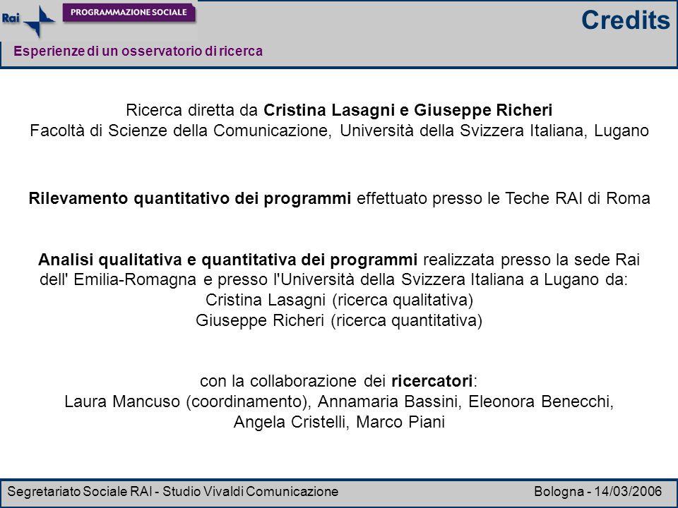 Esperienze di un osservatorio di ricerca Segretariato Sociale RAI - Studio Vivaldi Comunicazione Bologna - 14/03/2006 Ricerca diretta da Cristina Lasa
