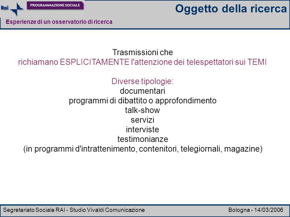 Esperienze di un osservatorio di ricerca Segretariato Sociale RAI - Studio Vivaldi Comunicazione Bologna - 14/03/2006 Trasmissioni che richiamano ESPL